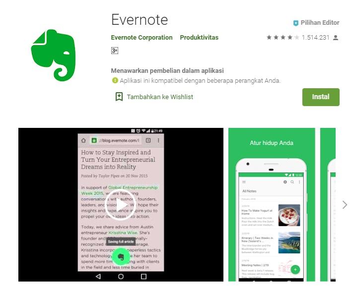 aplikasi evernote